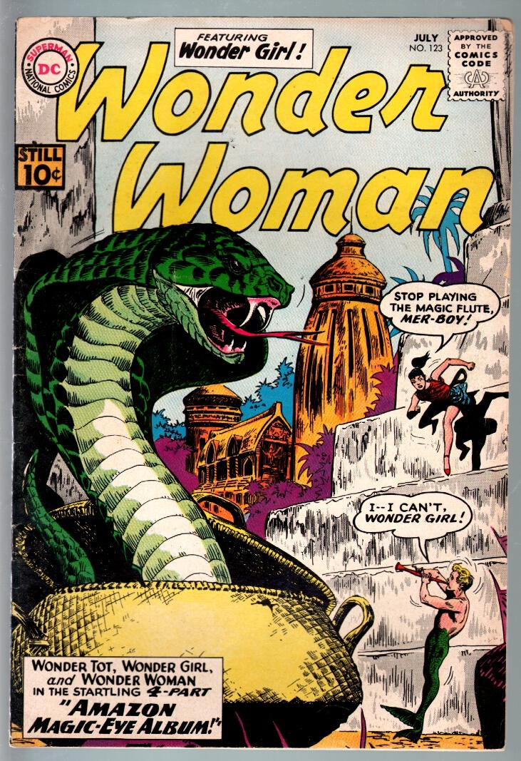 WONDER WOMAN #123-1961-DC SILVER AGE-snake cover-vg plus VG+ Very Good