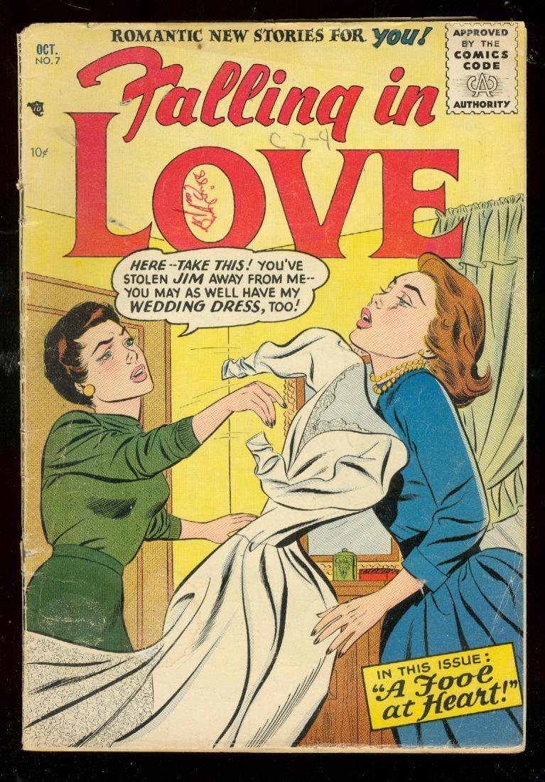 FALLING IN LOVE #7 1956-DC ROMANCE COMICS-WEDDING DRESS VG Very Good Wedding dress issue. Condition: VG