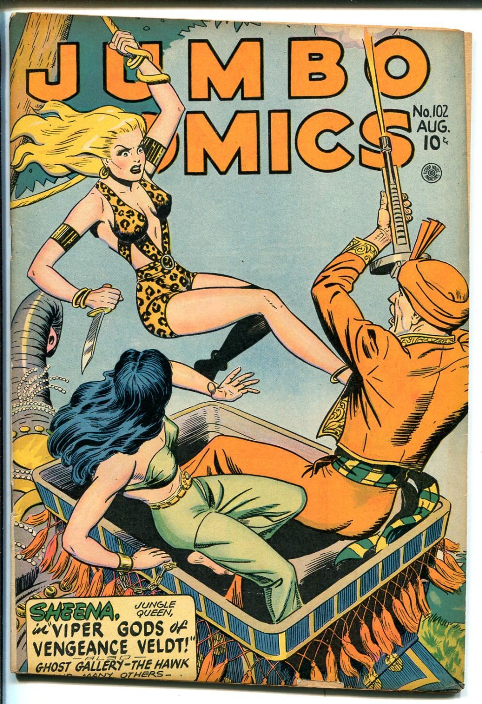 Jumbo #102 1947-Sheena cover-elephant-spicy Good Girl art-Matt Baker-VG Very Good