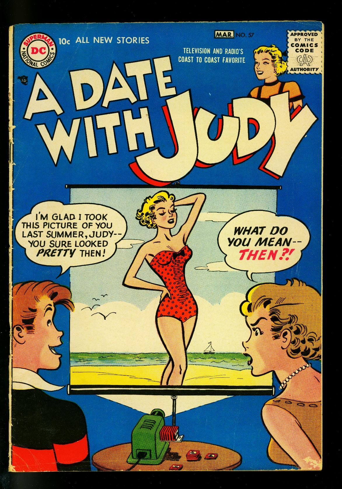 Date_with_Judy_#57_1957-_Swimsuit_slide_projector_cover-_DC_Humor-_G_VG___[Good]_[Hardcover]