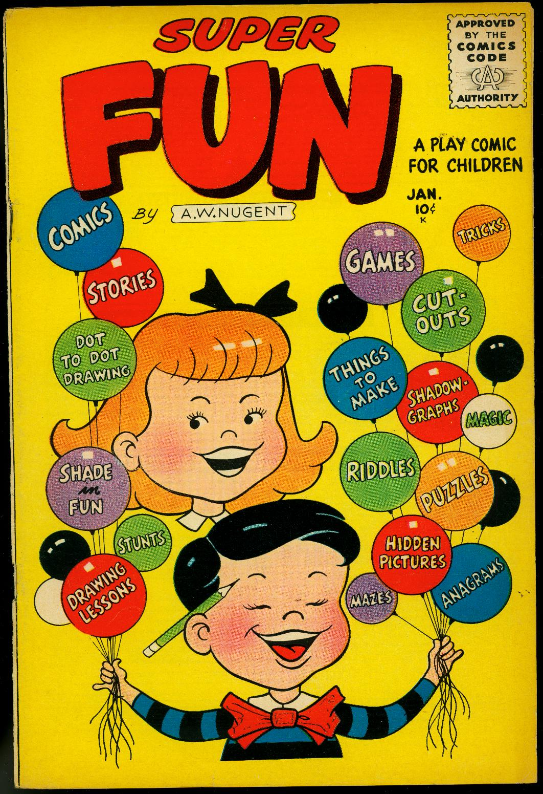 Super Fun #1 1956- AW Nugent- Puzzles & Comics VF As New
