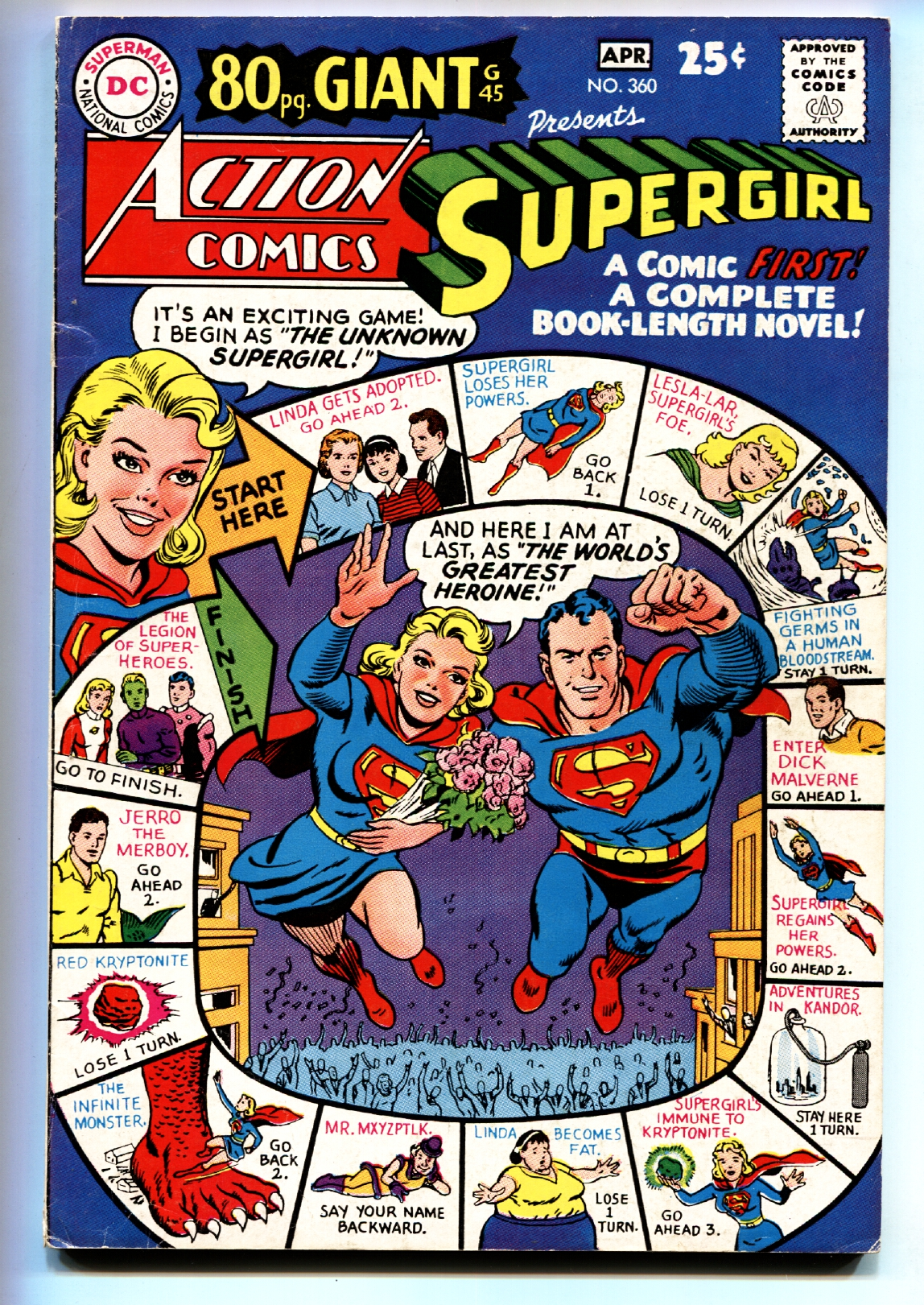 ACTION COMICS #360 comic book DC SUPERGIRL 1968 80 PG GIANT #45 FN Fine