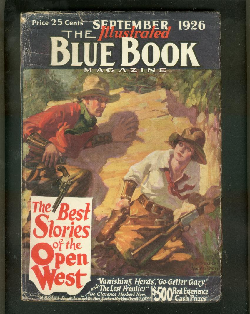 BLUE BOOK PULP SEPT 1926-WESTERN ISSUE-COWGIRL COVER- VG Very Good