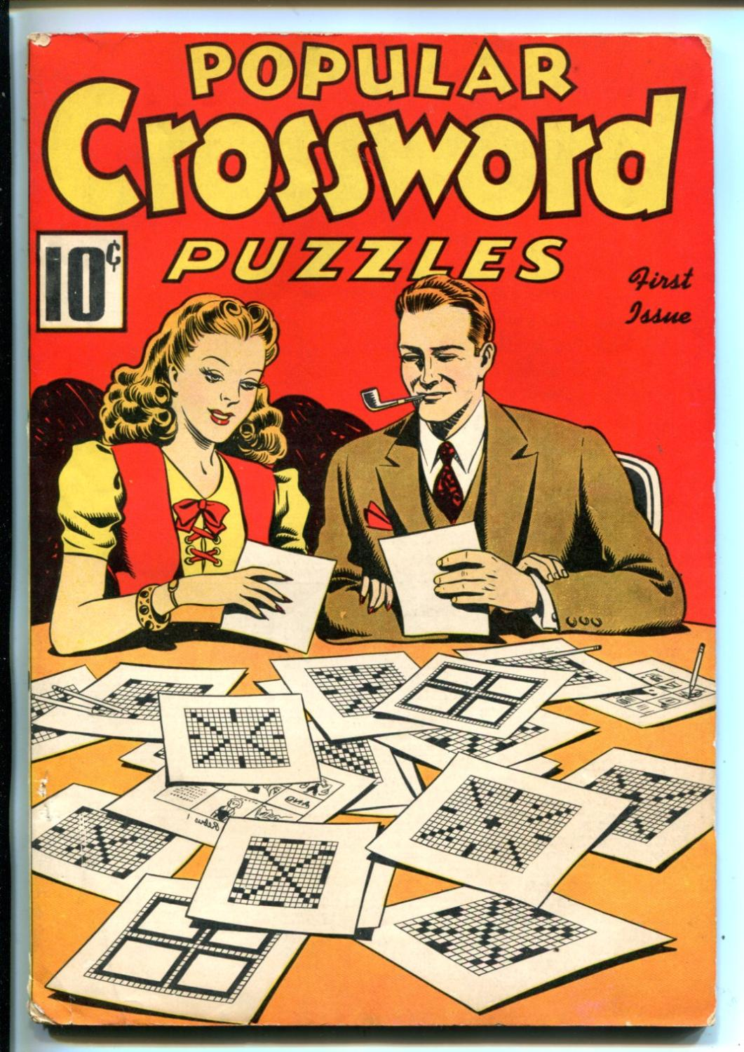 POPULAR CROSSWORD PUZZLES #1-2/1941-PRE WWII-UNWORKED-SOUTHERN STATES-fn minus Fine