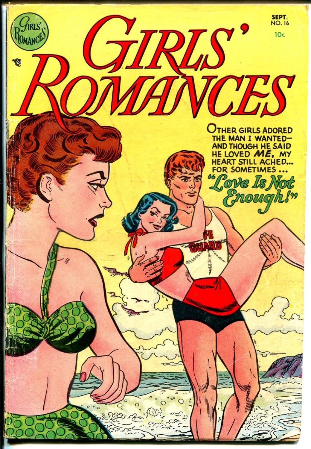 Girls'_Romances_#16_1952-DC-spicy_art-life_guard_swimsuit_cover-VG___[Very_Good]