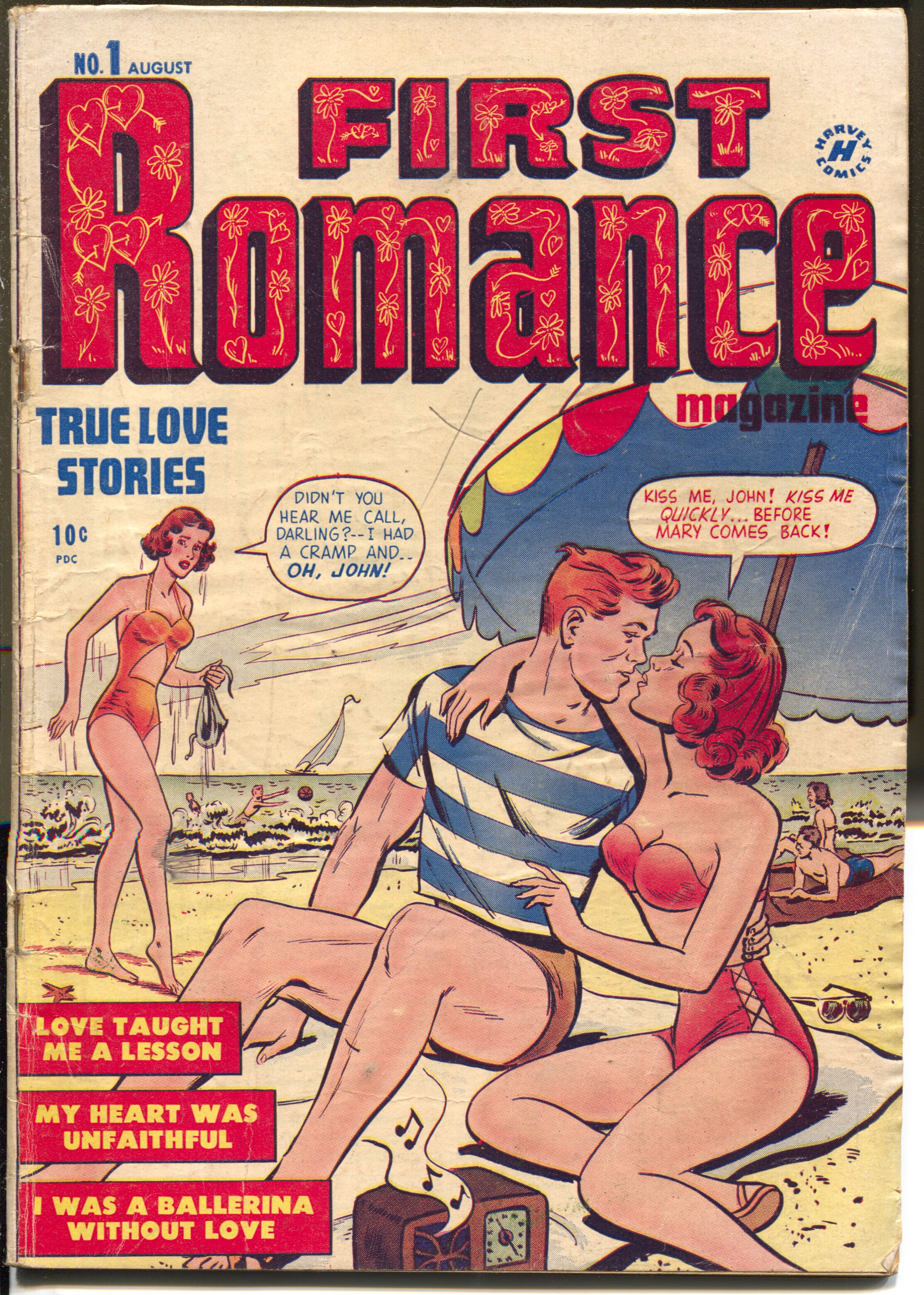 First_Romance_#1_1949-Harvey-1st_issue-Bob_Powell_art-swim_suit_-VG____[Very_Good]