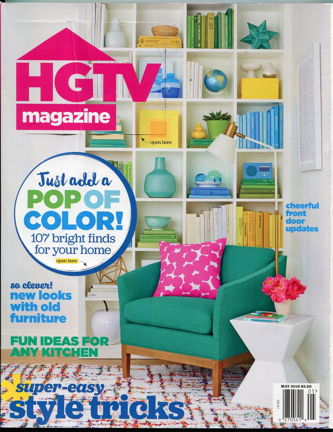HGTV Magazine May 2016- Decoration- DIY-