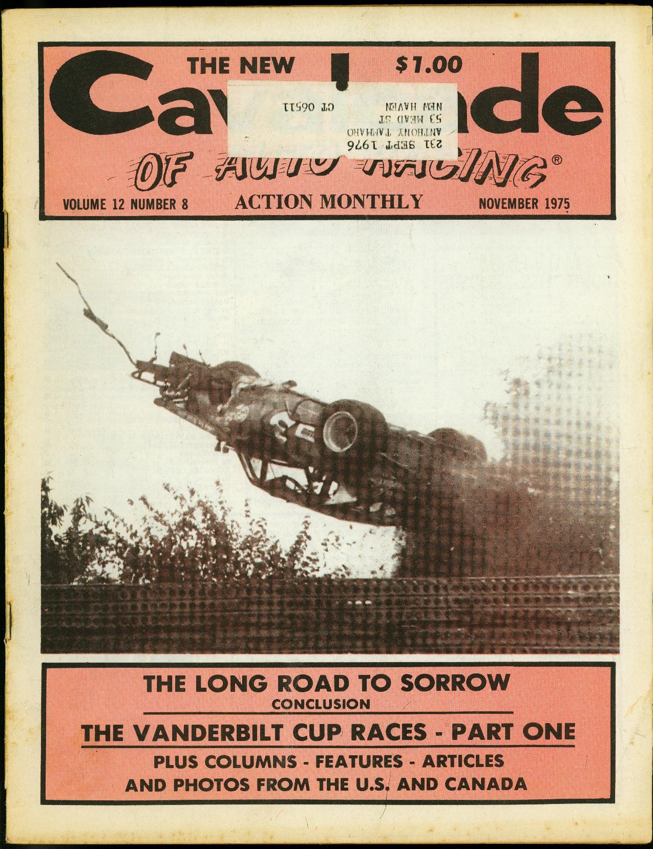 Cavalcade of Auto Racing November 1975- Vanderbuilt Cup- CRA Sprint Very Good