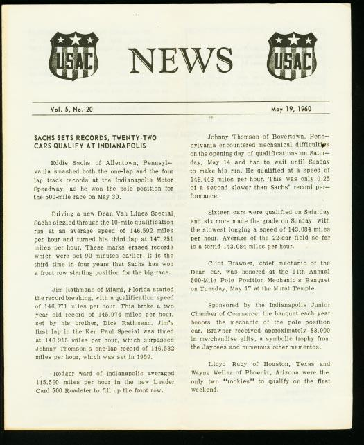 Usac Auto Racing News Letter May 1960 Indy 500 Vg Dta Collectibles