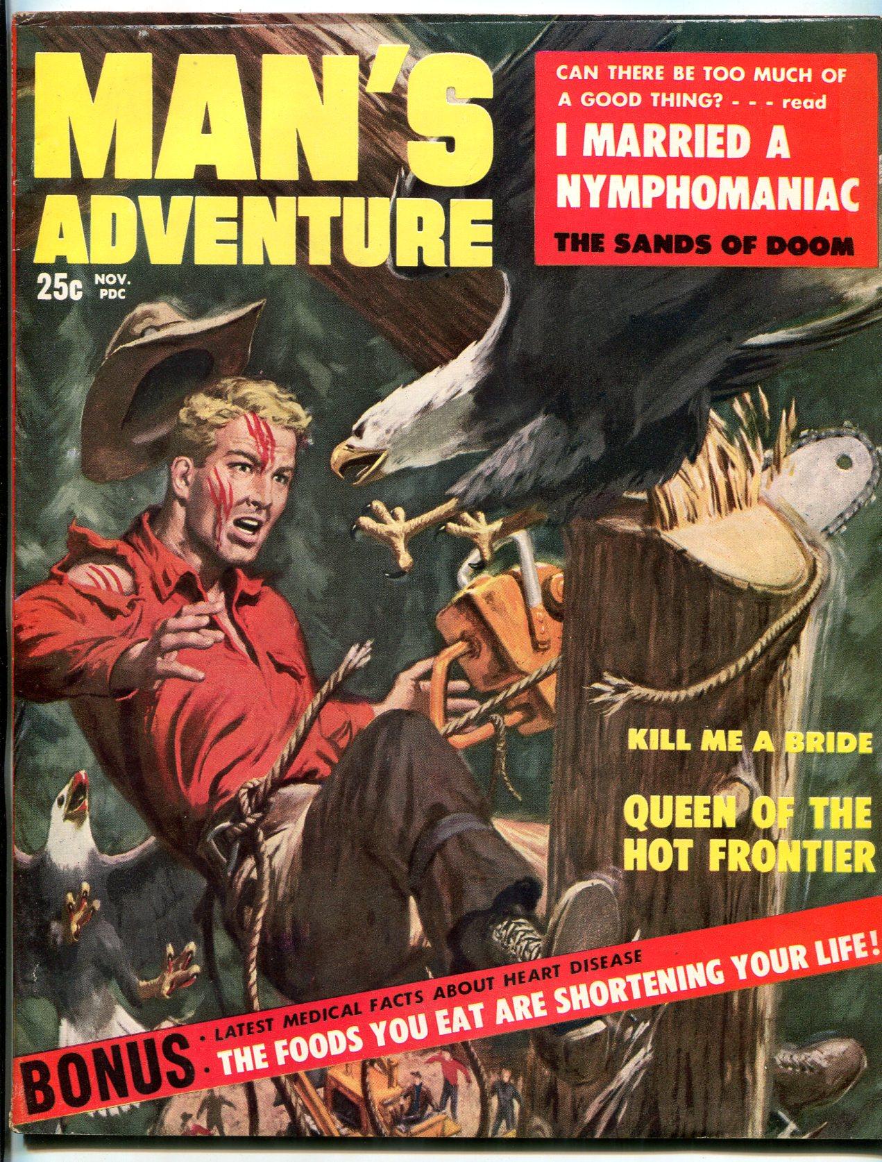 Man's Adventure Nov 1957-Stanley-Kim Athas cheesecake-Doore-nympho Fine