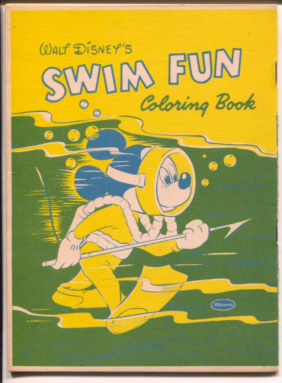 Walt Disney\'s Swim Fun Coloring Book-Mickey Mouse 1957-Whitman-VF/NM ...