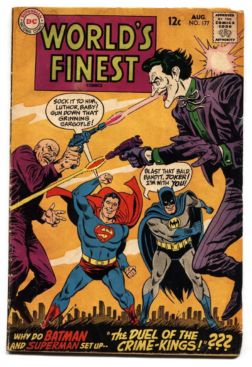 Worlds Finest 177 Comic Book 1968 Joker Vs