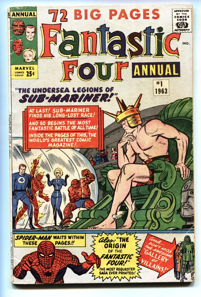 FANTASTIC FOUR ANNUAL #1 Spider-Man appears-1963-Marvel comic book