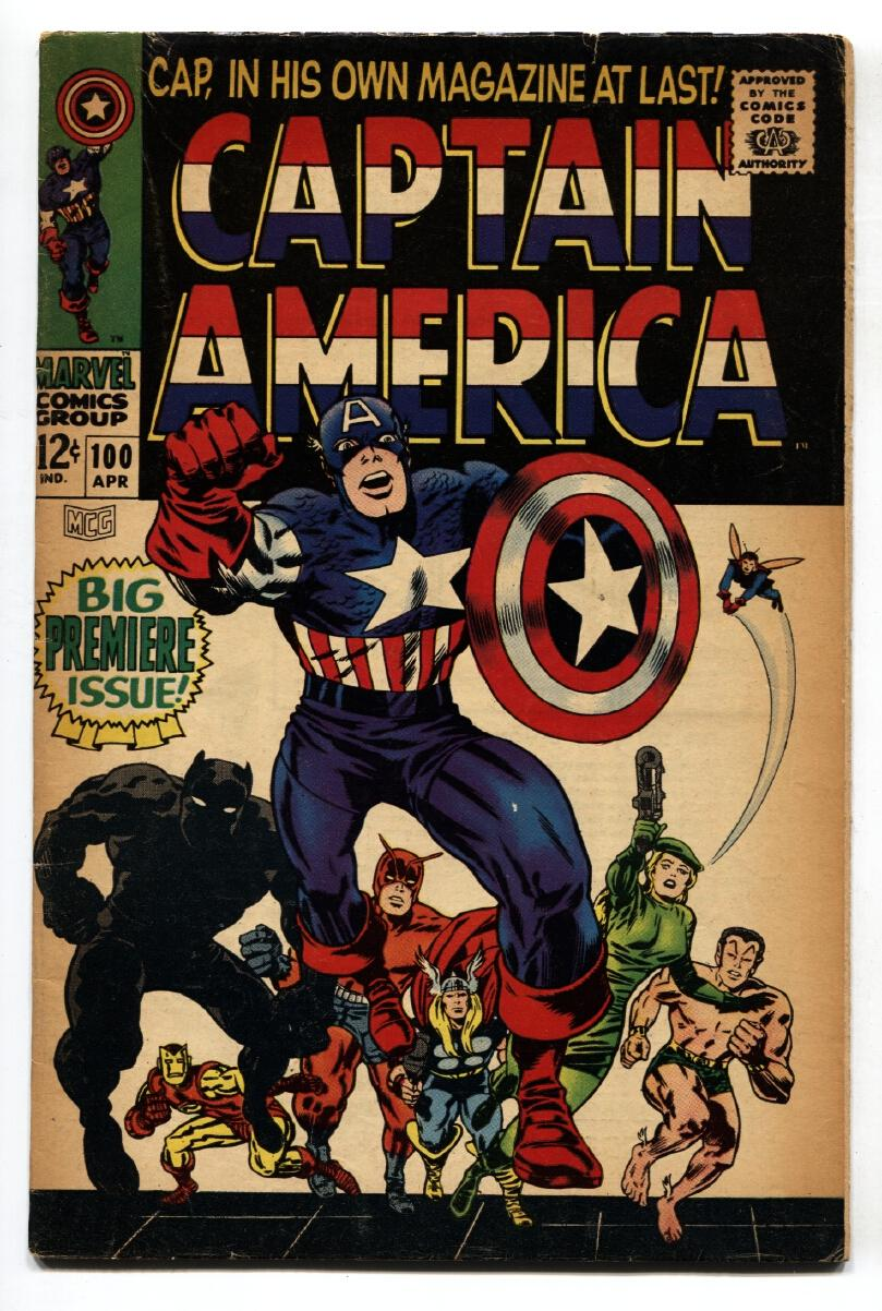 CAPTAIN AMERICA #100 comic book First issue! 1968 BLACK PANTHER