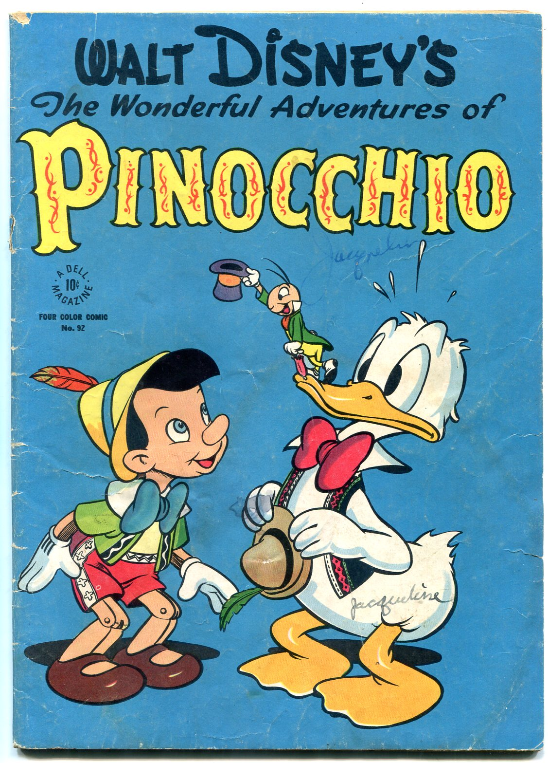 Adventures of Pinocchio-Four Color Comics #92- Donald Duck VG: Dell ...