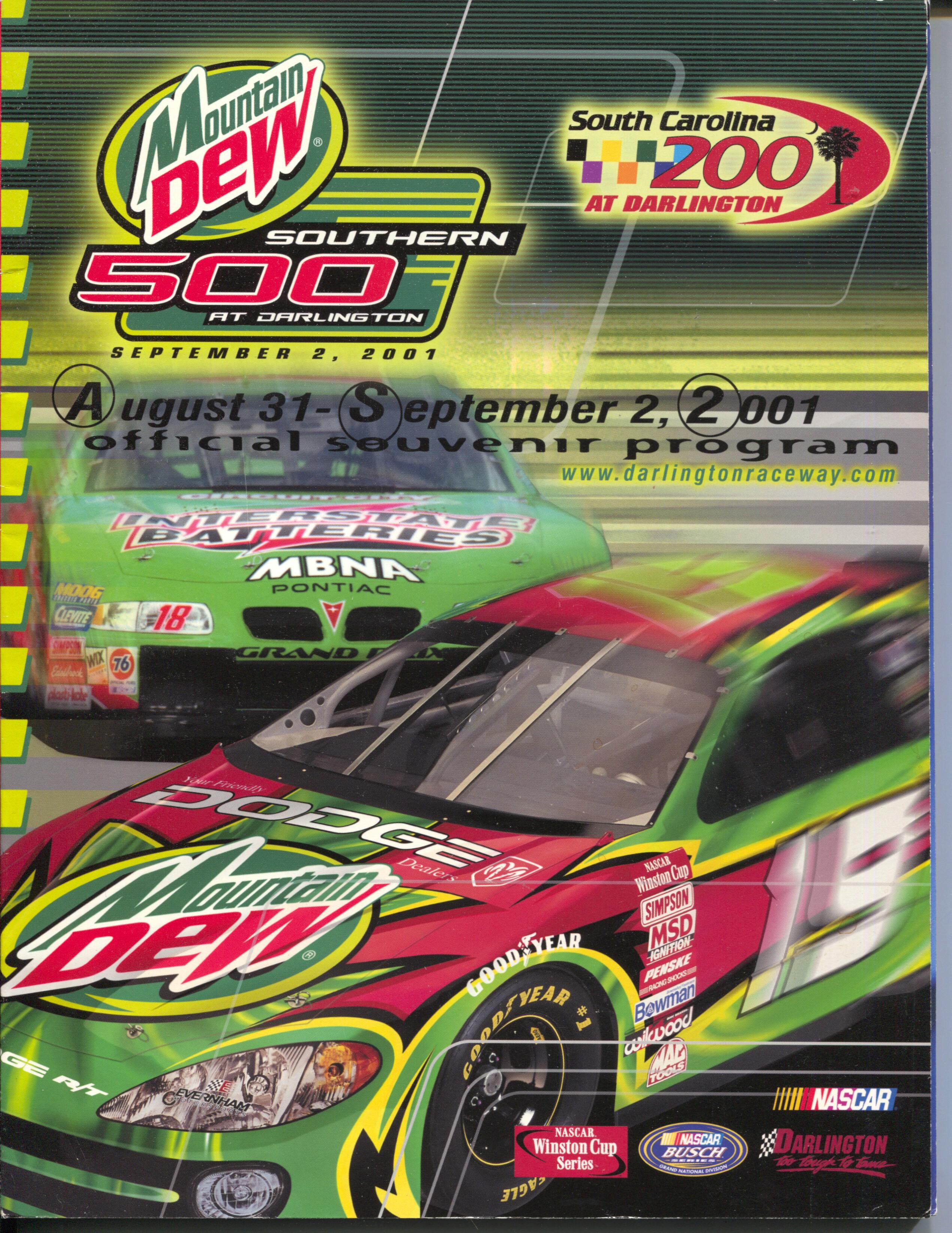 Darlington Int'l Speedway Auto Race Program 9/2/20001-NASCAR-Dale Jarrett-FN Fine