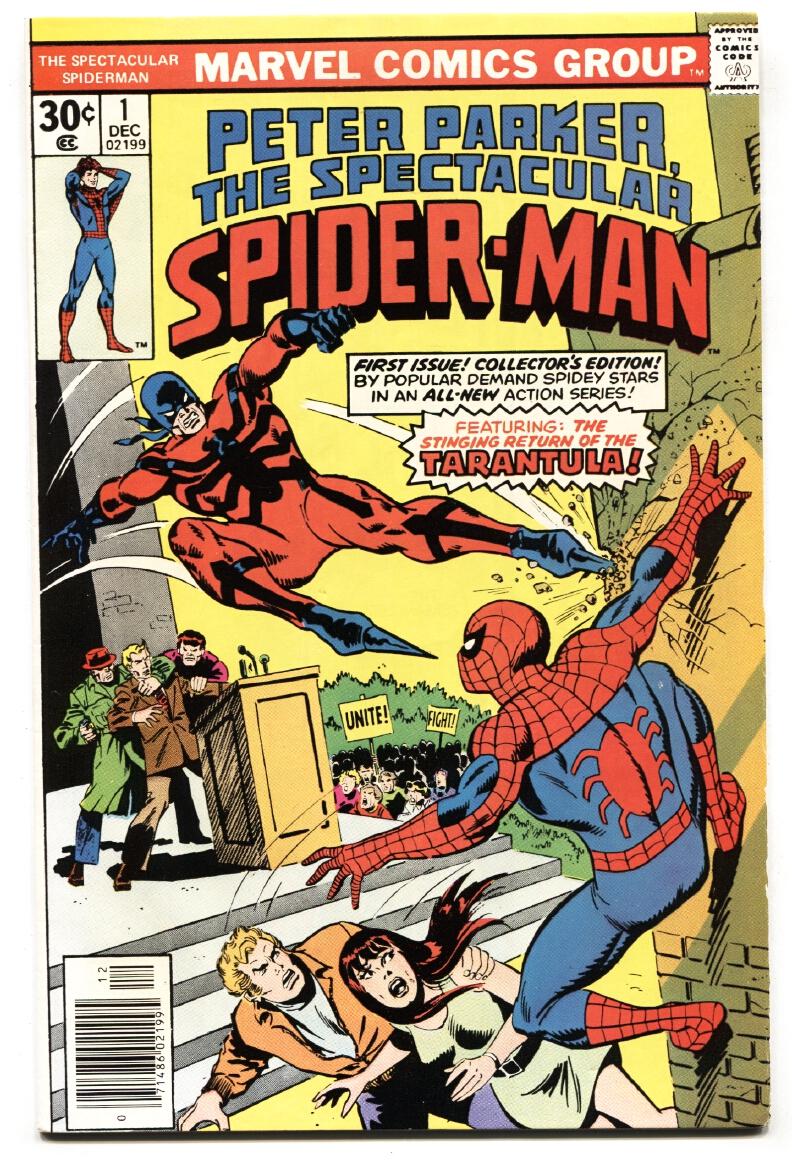 SPECTACULAR SPIDER-MAN #1 comic book 1976 TARANTULA - ORIGIN RETOLD New
