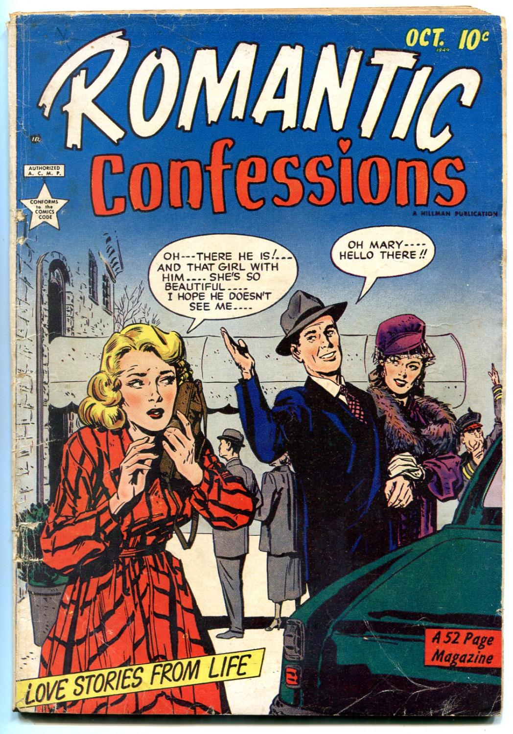 Romantic Confessions #1 1949- golden Age romance comic- lingerie VG Very Good First issue. Al McWilliams art. Bride story, lingerie. Rare. Condition: VG