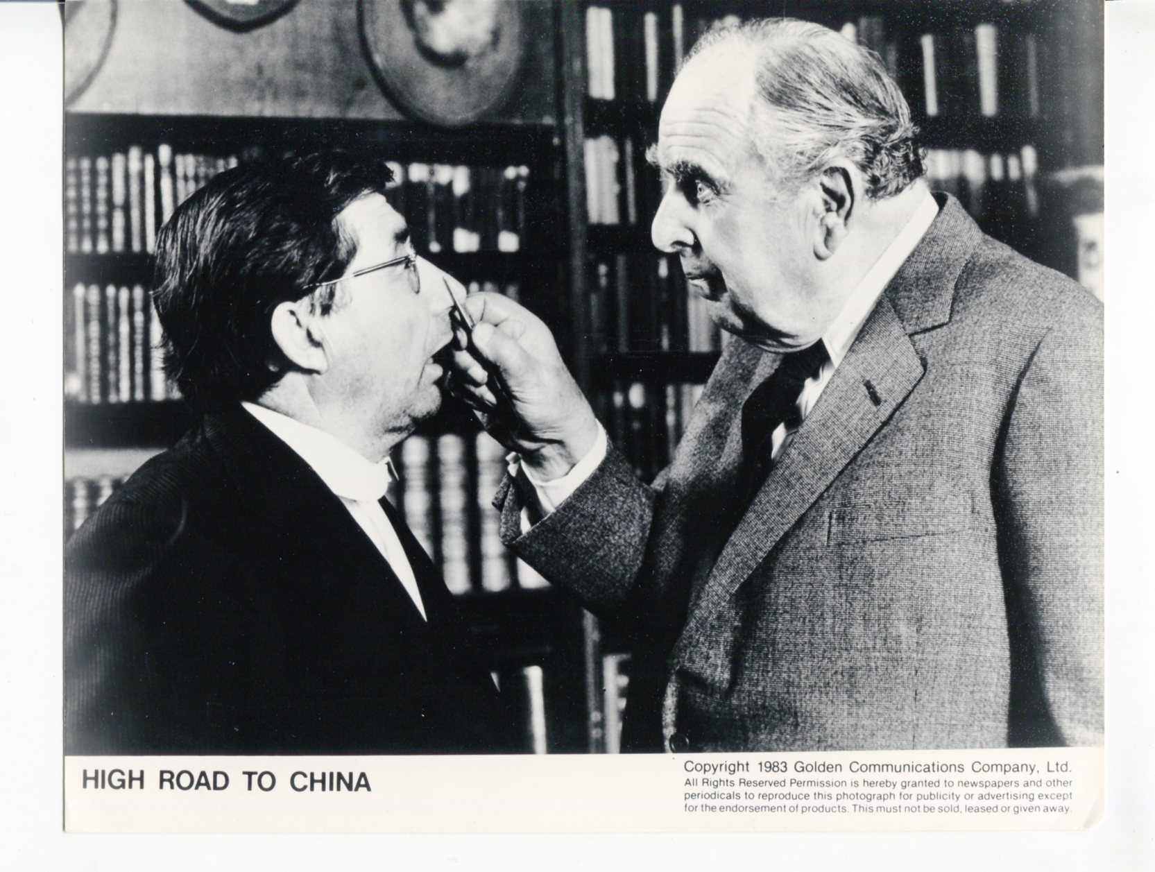 High Road To China-Robert Morley-Timothy Bateson-8x10-B&W-Promo-Still Fine