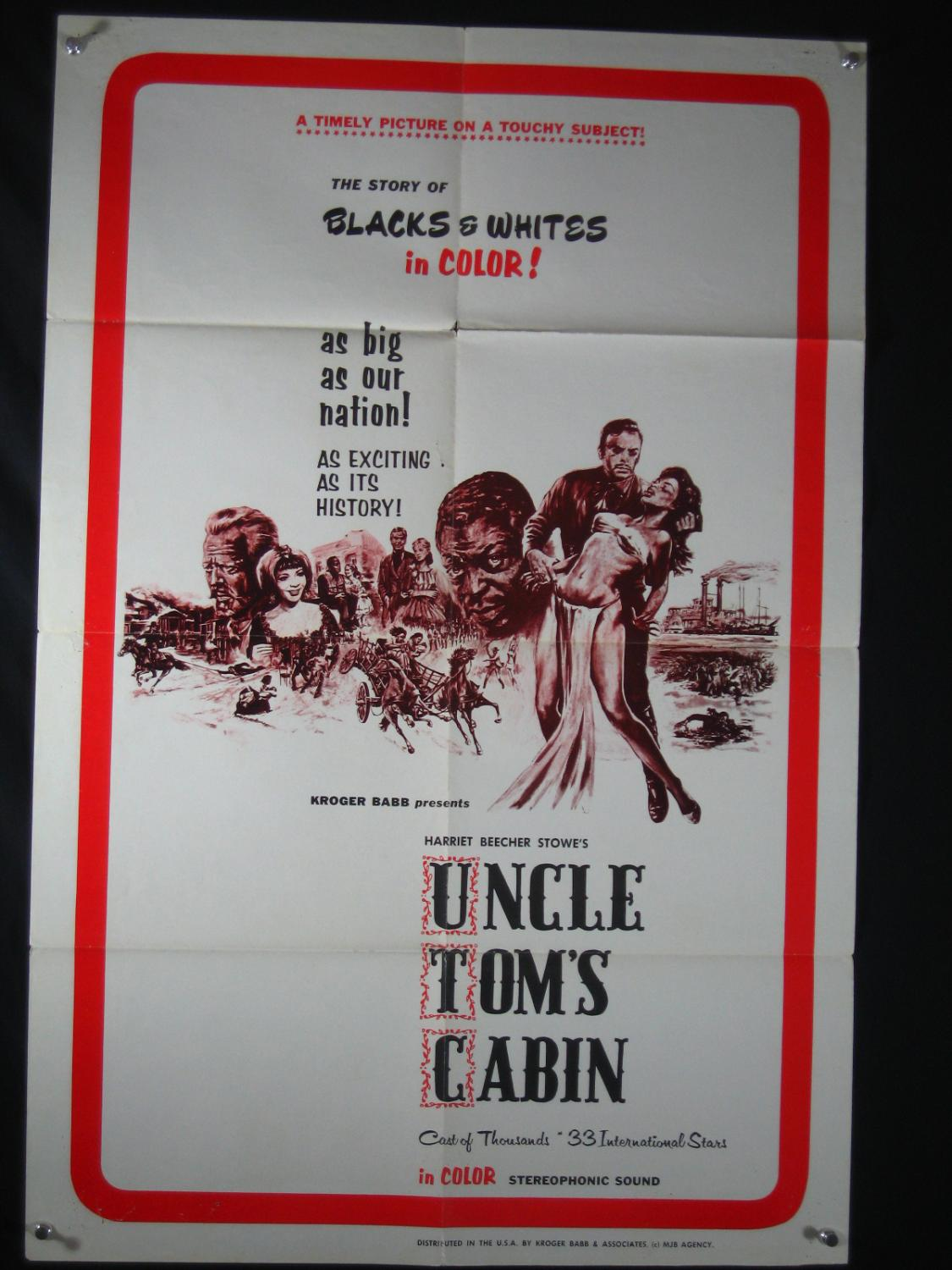 UNCLE TOM'S CABIN- 27X41 POSTER-1965-KROGER BABBS-EXPLOITATION-GERMAN As New