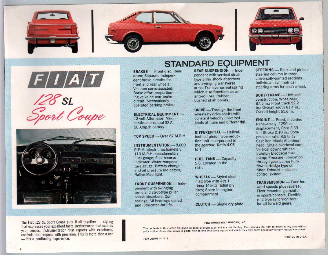 1972 Fiat 128 SL Sport Coupe Sales