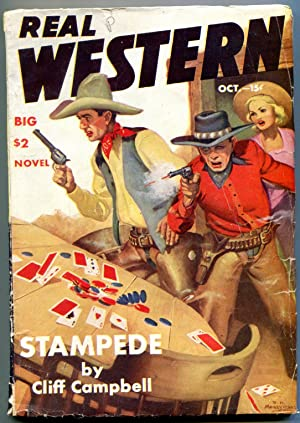 Real Western Pulp October 1941- Great poker gunfight cover- Archie Joselyn VG+