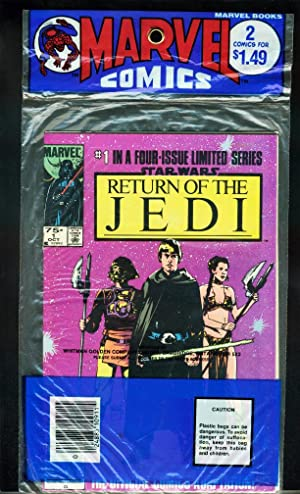 RETURN OF THE JEDI MARVEL 2 COMIC BAG # 1 & 2 1983-UNOPENED 2 PACK-nm