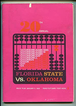 20TH ANNUAL GATOR BOWL NCAA FOOTBALL PROGRAM 1/2/1965-FSU VS OK-RARE-vg