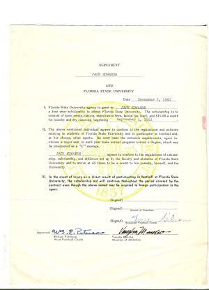 FSU FOOTBALL SCHOLARSHIP AGREEMENT-12/7/1960-JACK EDWARDS-BILL PETERSON-g/vg