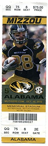Mizzou vs Alabama October 13 2012 Ticket Stub NCAA Football