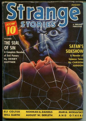 Strange Stories 8/1940-spider web terror cover-horror-pulp-Kuttner-Daniels-FN
