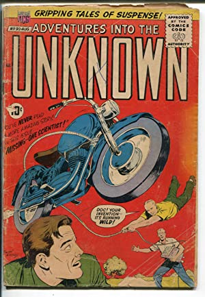 Adventures Into The Unknown #99 1958-ACG-sci-fi-motorcycle cover-G