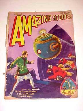 AMAZING STORIES-MAR 1929-1ST BUCK ROGERS CVR APPEARANCE