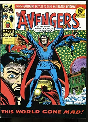 AVENGERS #93 1975-HAWKEYE-MASTER OF KUNG FU-SCARLET WITCH-KIRBY-UK COMIC FN