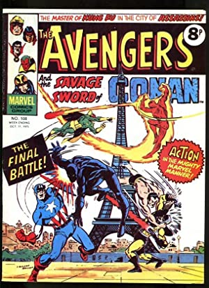 AVENGERS #108 1975-HAWKEYE-MASTER OF KUNG FU-SCARLET WITCH-KIRBY-UK COMIC FN