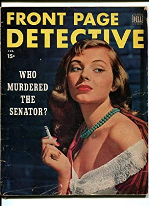 FRONT PAGE DETECTIVE-1951-FEB-SPICY WOMAN SMOKING COVER G/VG