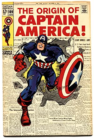CAPTAIN AMERICA #109 1969-ORIGIN ISSUE-VF/NM-KEY MARVEL