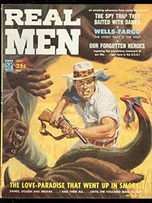REAL MEN JULY 1958-WILD SAFARI COVER-WELLS FARGO-SNAKES FN/VF