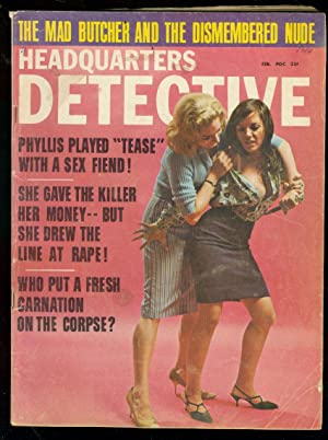 HEADQUARTERS DETECTIVE FEB 1967-GIRL FIGHT COVER-PULP VG