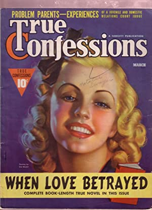 TRUE CONFESSIONS MARCH 1939- PIN-UP GIRL ZOE MOZERT VG