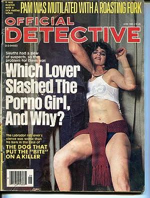 Official Detective 6/1985-lurid strangulation cover-porno girl-pulp crime-G/VG