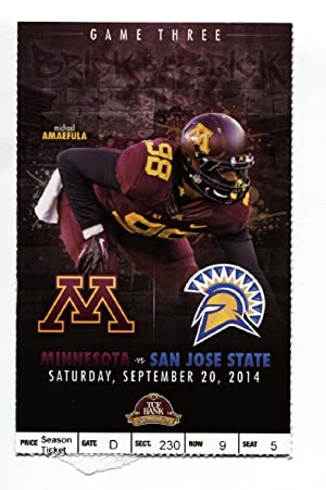Minnesota vs. San Jose State Sep 20, 2014 Ticket Stub NCAA Football