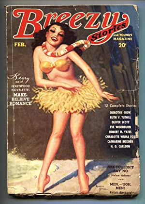 BREEZY STORIES PULP Feb 1935-HULA GIRL cover by ENOCH BOLLES-Spicy