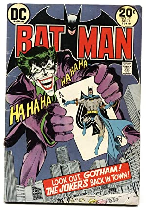 BATMAN #251 DC 1973 Classic Joker Playing Card cover comic book -Neal Adams