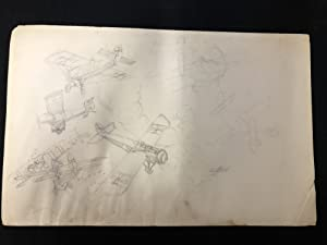 Pulp Magazine Original Aviation Art Penciled Unfinished Unpublished