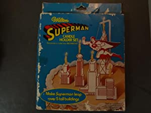 WILTON SUPERMAN CANDLE HOLDER SET-1979-DC-UNUSED