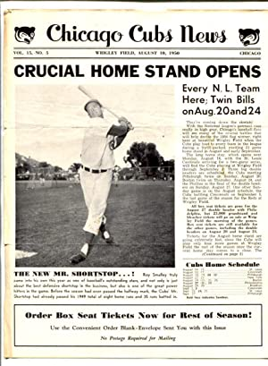 Chicago Cubs News August 10 1950- MLB Newsletter