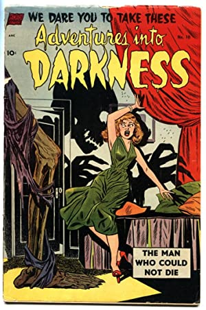ADVENTURES INTO DARKNESS #10 1953-Hanging panels-Headlight skeleton menace cvr