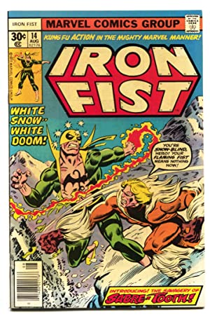 IRON FIST #14 comic book FIRST SABRETOOTH-HIGH GRADE-MARVEL KEY vf-