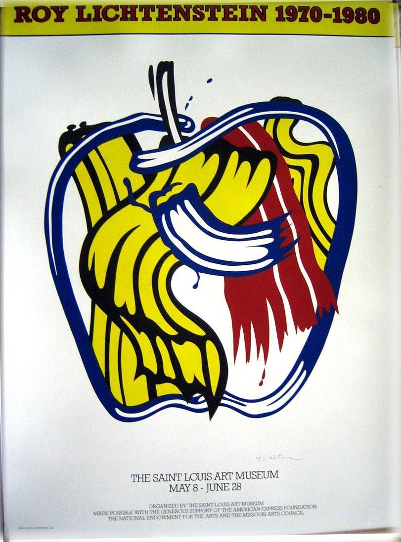 Apple Poster (SIGNED poster by Roy Lichtenstein) by LICHTENSTEIN ...